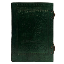 Fair Trade Handmade Eco Tree Of Life Design Embossed Leather Journal Notebook Green shadow color Book