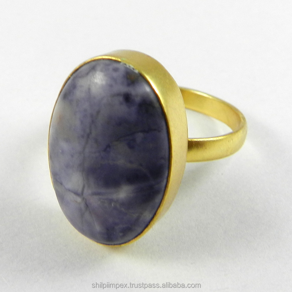 Pedro Designer Jewelry Ring - Charolite - 18k Gold Plated - Oval Cab Gemstone Ring - Bezel Set Ring - SIRG0847