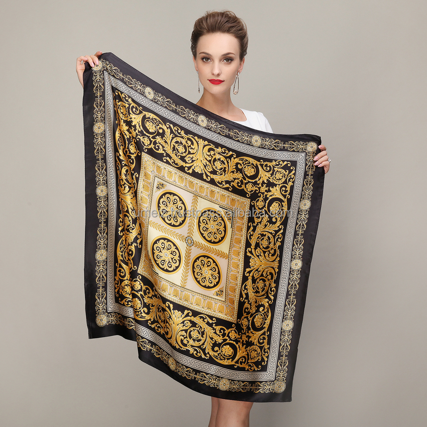 Black Gold Square Scarves 2015 Fashion Ladies Pure Silk Scarf