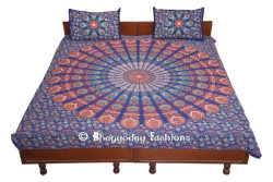 Indian Duvet Cover Mandala Flower Coverlet Reversible Quilt Covers Throw Handmade Doona Cover