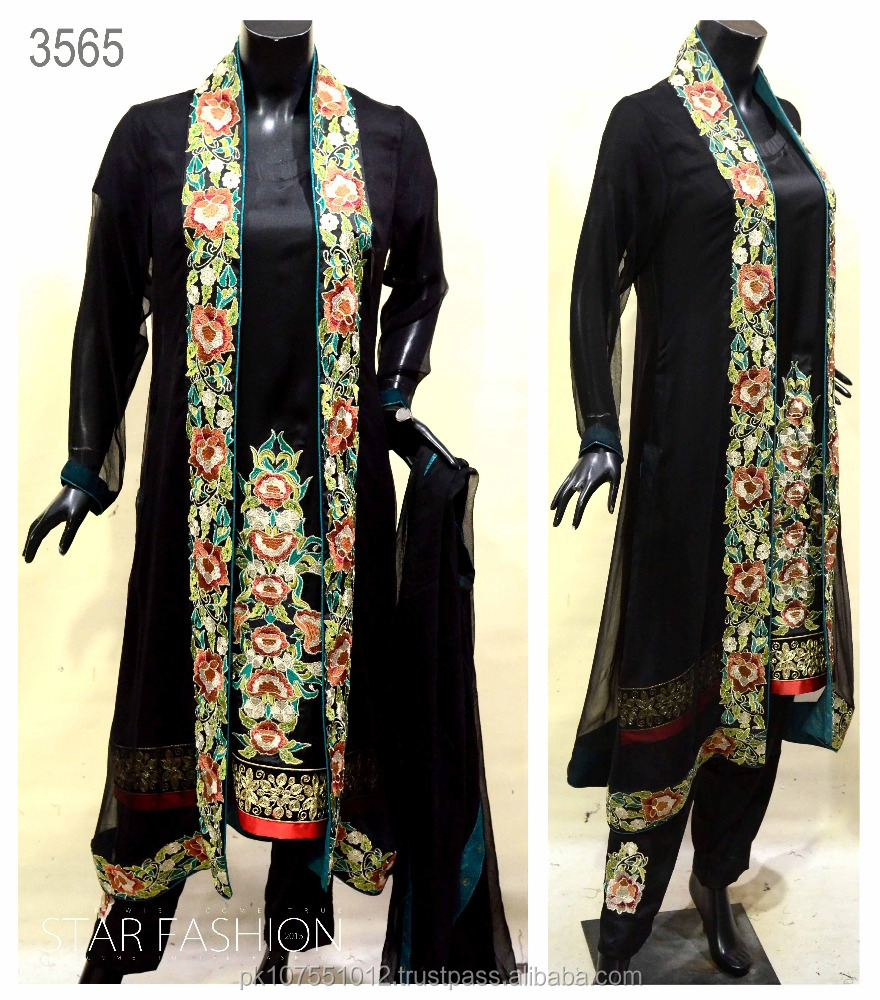 Pakistani Party Wear Collection Poncho Long Coat Straight Shirt