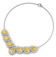 18k Yellow Sapphire Real Diamond Necklace in White Gold