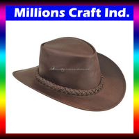 Outback Western Wide Brim Leather Cowboy Hat by Millions Craft Ind