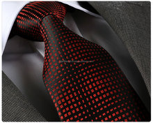 Red Black Checked ,Silk tie, necktie, neck tie, corbata, gravate, krawatte, cravatta, fashion tie