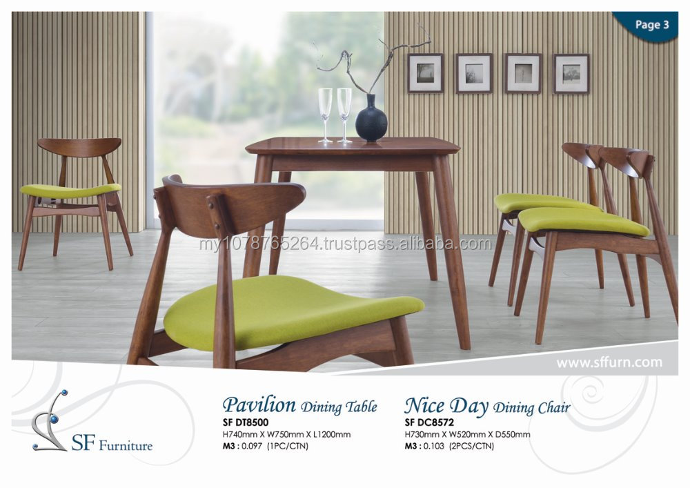 upholstered dining set, dining set, dining room set, solid wood dining table, malaysia furniture,