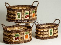 Set of 3 Oval Storage Tote with ceramic appliques