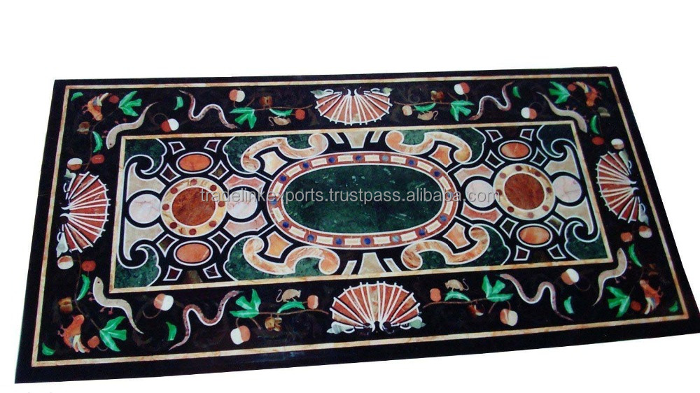 Exclusive Marble Stone Inlaid Antique Dining Table Top With Indian Stone Inlay Art