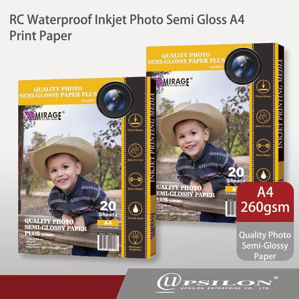 RC Waterproof Inkjet Photo Semi Gloss A4 Print Paper