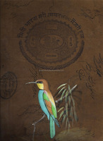 Indian Miniature Kingfisher Painting Water Color Old Stamp Paper Painting Wild Life Bird Painting