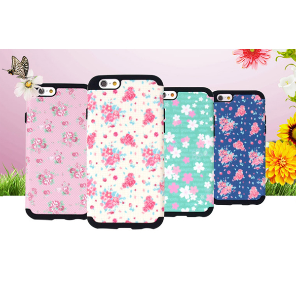 00944 For iPhone 6/6S/6 Plus/6S Plus/5/5S/SE_Flower Garden Silicon Double Bumper_Smart Cellular Mobile Phone Case Cover