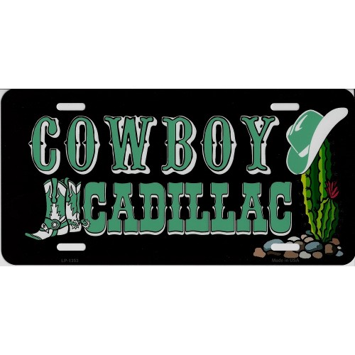 Cowboy Cadillac Metal License Plate