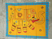 Cotton ethnic indian Jari elephant motif wall Hangings wholesale Handmade cotton hand Embroidered Wall Hanging Tapestry