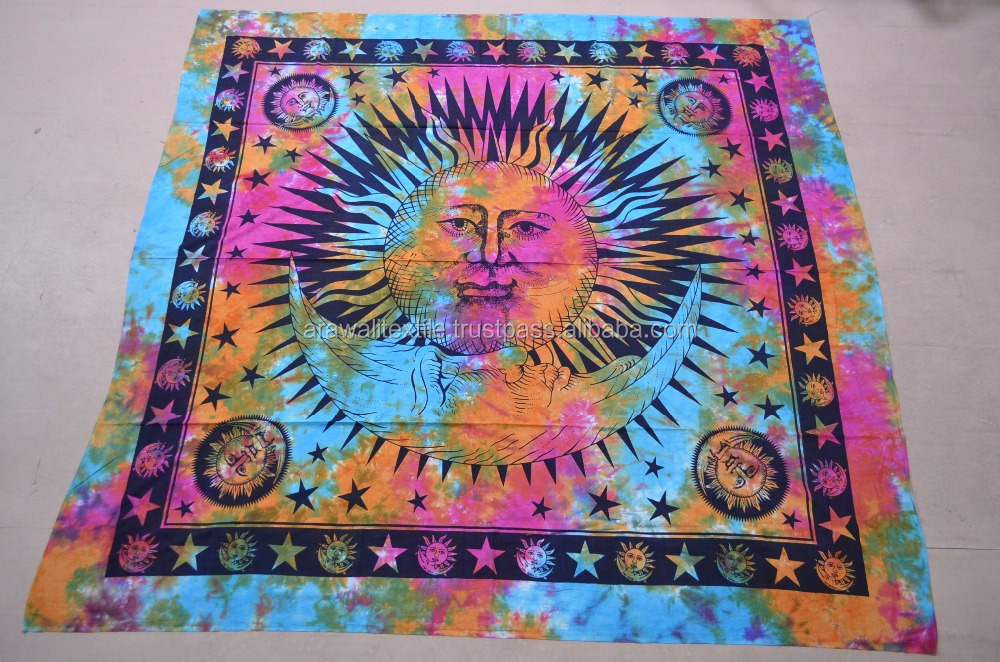 TIE AND DYE SCREEN PRINT BED COVER