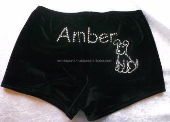 Black velvet low rise dance / gymnastic shorts.