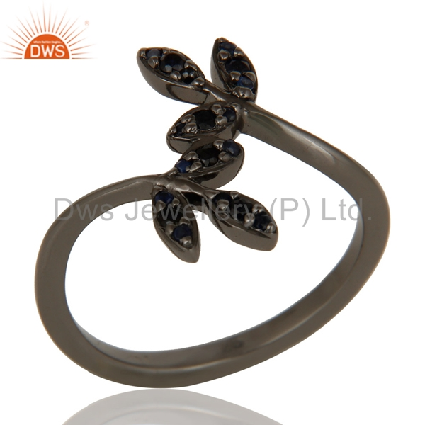 Handmade Leaf Design Girls Midi Ring 925 Silver Rhodium Plated Blue Sapphire Gemstone Rings Manufacturer of Gemstone Jewelry