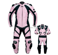 NEW PINK PROFESSIONAL RACING WOMEN LEATHER MOTORBIKE SUIT
