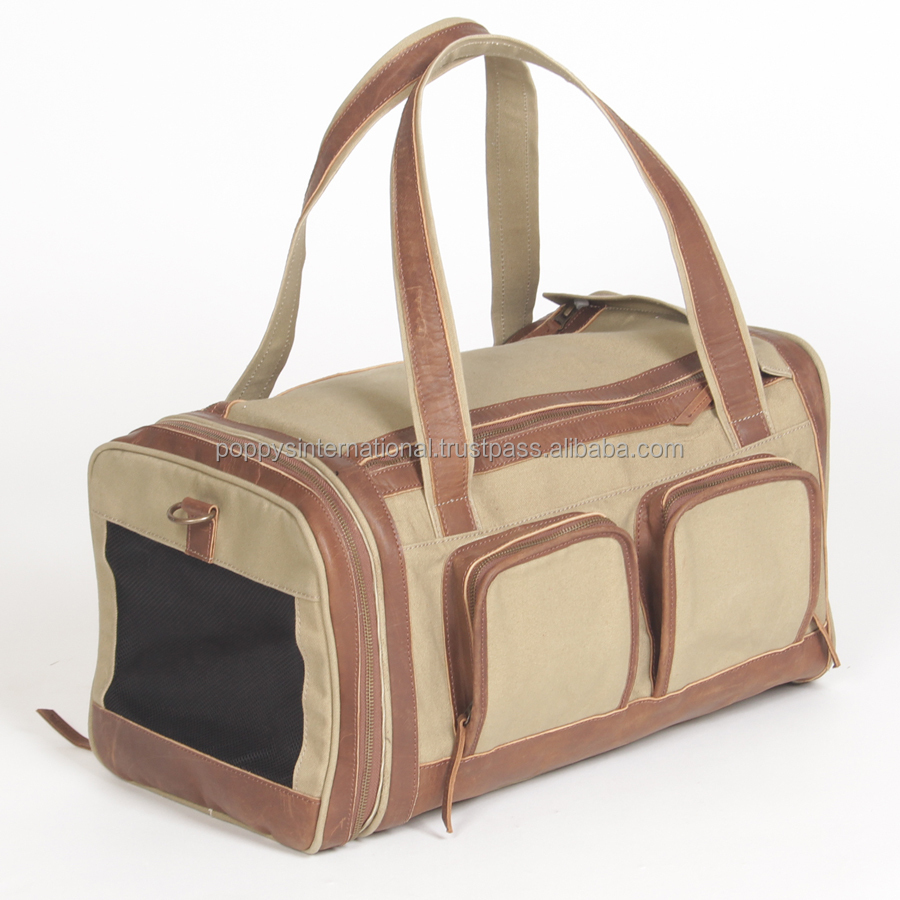 HEAVY DUTY ECO-FRIENDLY 18 0Z ORGANIC COTTON CANVAS PET CARRIER