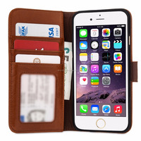 Real Leather ID Wallet Case Cover for iPhone 6 and 6s - Brown