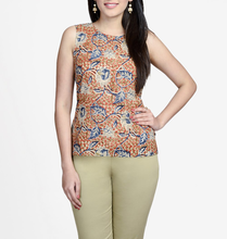 Cotton Printed Round Neck Kalamkari Top for girls