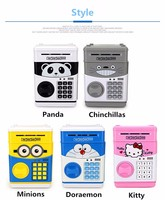 Panda minions ABS plastic electronic mini atm piggy bank money saving boxes made in china