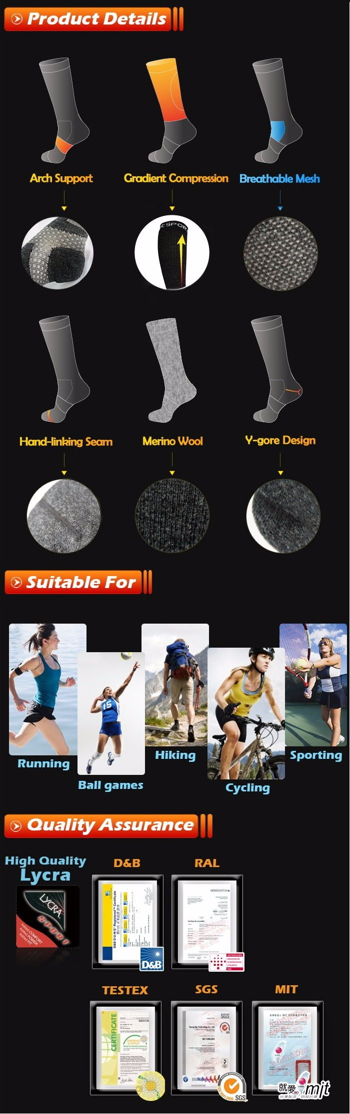 Colorful Merino Wool Compression Ankle Protect Athletes Sport Socks