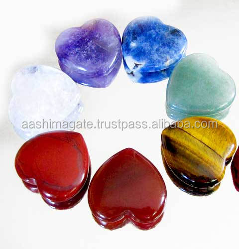 Wholesale Agate Chakra Pub Hearts Set for Decoration & Healing Energy