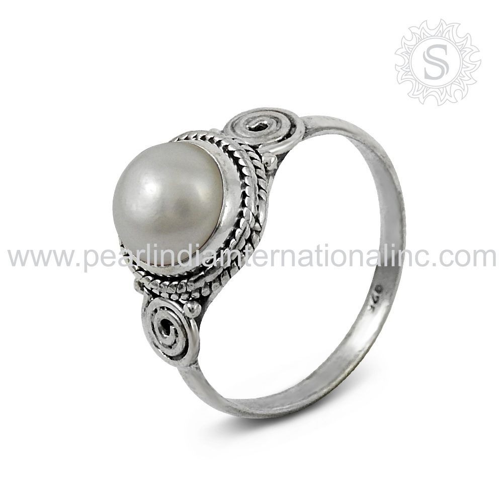 Shiny Fresh Water Pearl 925 Sterling Silver Ring 100% Solid Silver Jewelry