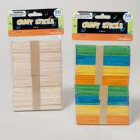 CRAFT STICKS 80PC WOODEN NATURAL OR MULTICOLOR #G28145
