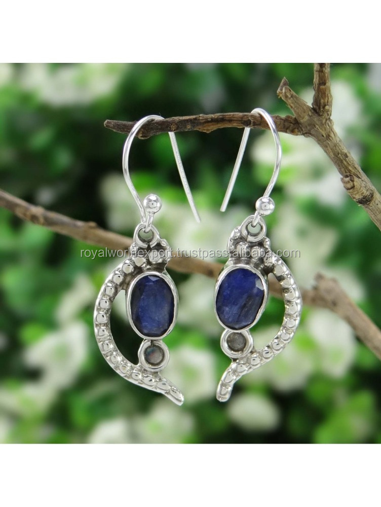 hand made Sapphire Stone Drop Dangle Earrins 925 Sterling Silver Indian Fashion Jewelry
