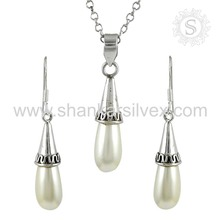 New Design Fresh Water Pearl Gemstone Jewelry Set 925 Sterling Silver Handmade Jewelry Wholesale India