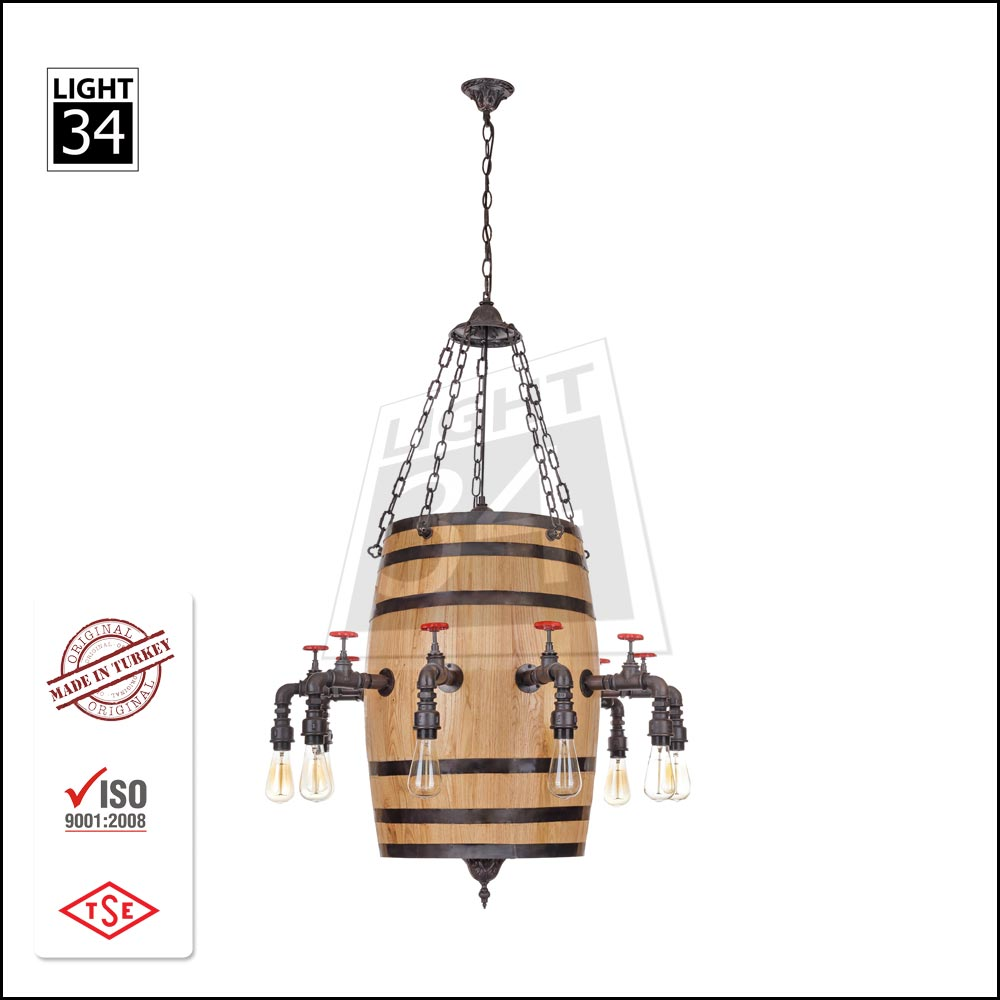 Barrel Industrial Pendant Light Decorative Hanging Light Modern Chandelier