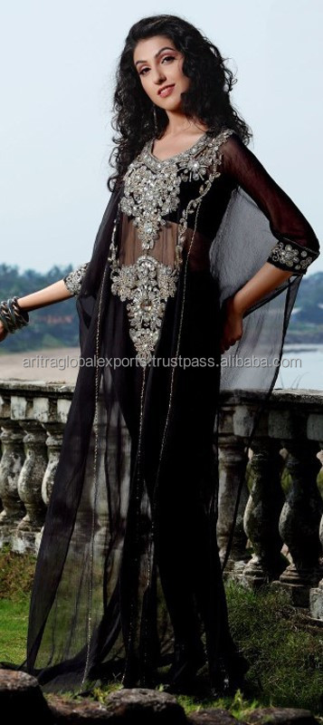 Black and Grey color family Kaftan in Georgette fabric with Machine Embroidery, Sequence, Stone, Patch, Lace, Bugle Beads work