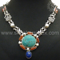 Turquoise, Lapis, Coral, South Sea Pearl Gemstone Silver Necklaces, 925 Sterling Silver Women Fashion Wear Jewellery NKCB2005-6