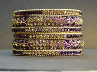 Wholesale Awesome Shiny Purple Gold Color Crystal Handcrafted Bangle Set