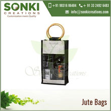 Printable Jute Shopping Bags with Transparent Window