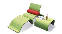 Outdoor aluminium rattan chaise lounge Set
