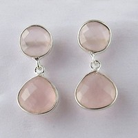 Inca Dream Rose Quartz 925 Sterling Silver Earring, Online Silver Jewelry, Indian Jewelry Manufacturer