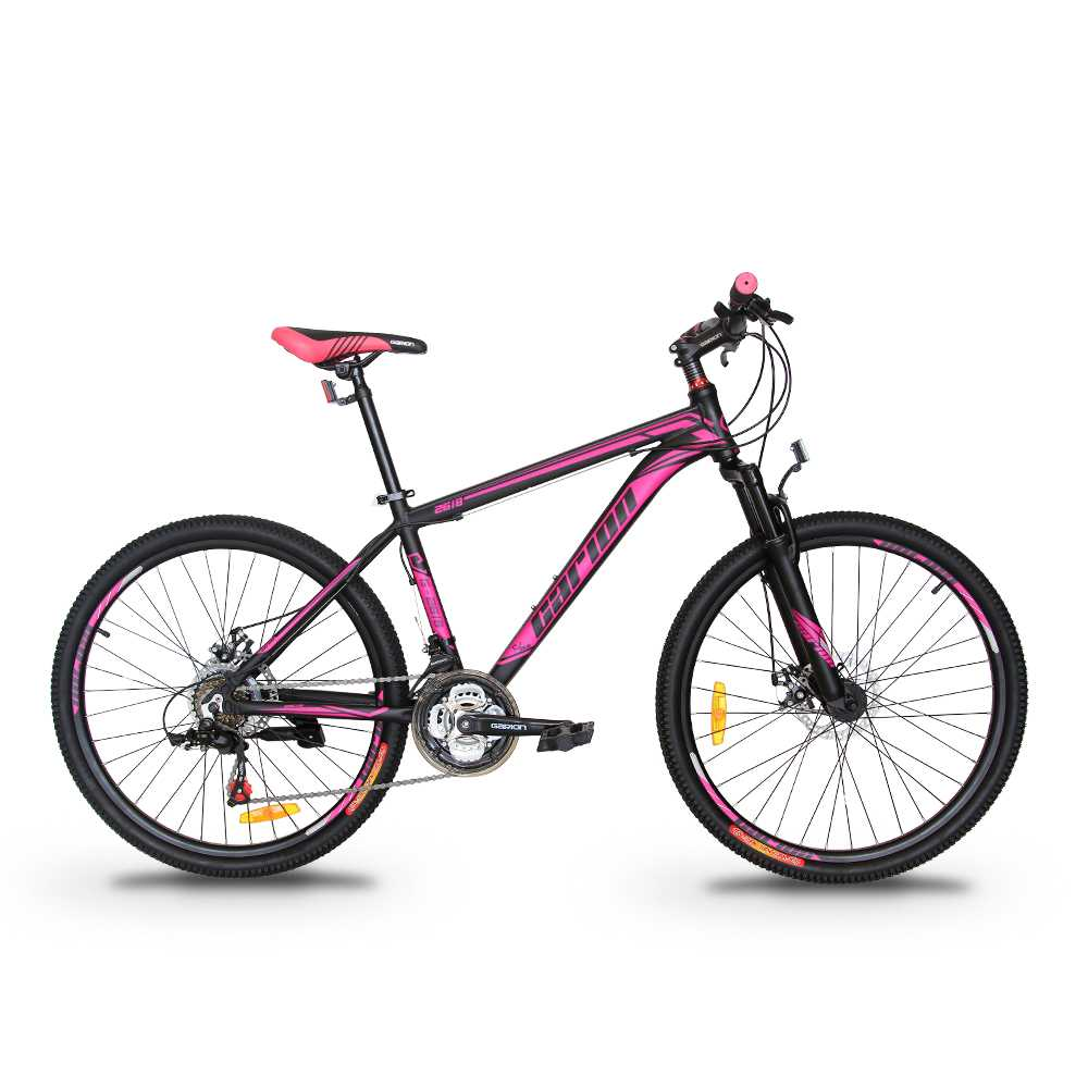 "GARION 26"" Alloy MTB Bike Mountain Bike with Disc Brake 21 Speed Matte Black with Purple"