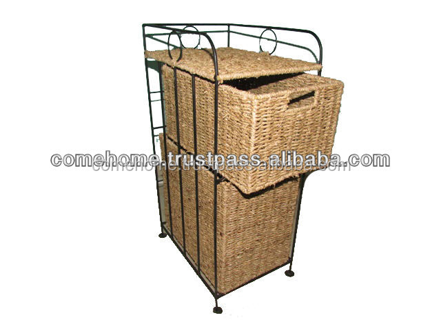 new product:Vietnam seagrass storage cabinet with metal frame, for home decoration and home furniture (CH2080)