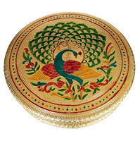 Round Peacock designed decorative hand-made Wooden Meenakari Chocolate Box / Dry Fruit Box