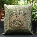 "16"" Peacock Bird BROCADE PILLOW CUSHION Cover Gift Royal India Decoration"