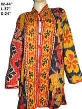 Indian Long Size kantha handmade Jacket Winter Cotton Quilted Coat reversible Womens jackets VH02