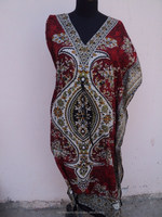 Red Color Traditional Printed Long Beaches party Wear Beautiful Abaya Dress & Caftan