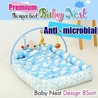 "100% Handmade Portable ""Baby Nest Bumper Bed"" / 6 types / 4 cushion&Mattress included"
