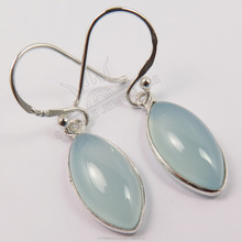 Good Quality 925 Solid Sterling Silver Natural AQUA CHALCEDONY Gemstones Fashion Jewelry Earrings ! Wholesale Store India