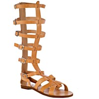 Leather Sandals Knee High Style Handmade Brown Color