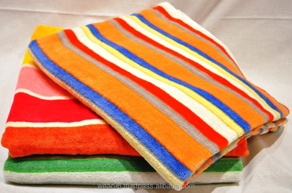 Pakistan customized Stripe Towels 100% Cotton 70 X 140 CM Wholesale