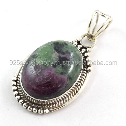 India gemstone jewelry ruby zoisite pendant wholesale semi precious jewelry silver pendant