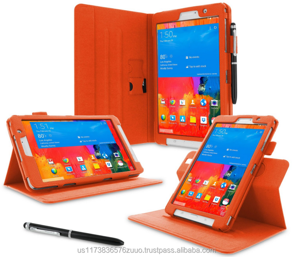 Dual View Slim Fit Premium PU Leather Folio case cover, detach inner sleeve for Galaxy Tab Pro 8.4 roocase (Orange)
