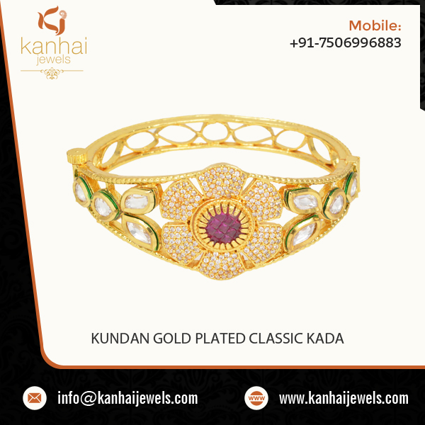 Splendid Look Latest Design Gold Plated Kada at Attractive Rate